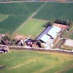 Een luchtfoto van de manege.